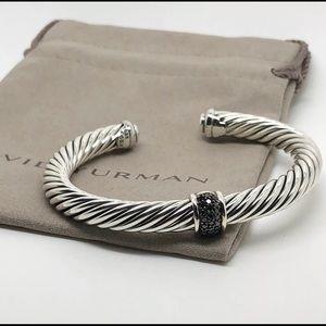 David Yurman .925 Black Diamond Station Cable Cuff